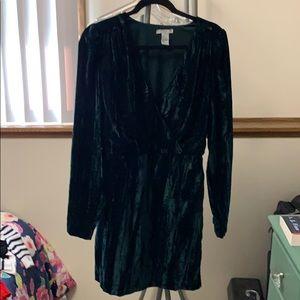 H&M Velvet Green Dress